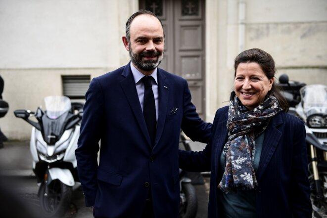 Édouard Philippe et Agnès Buzyn en campagne, le 10 mars à Paris. © AFP