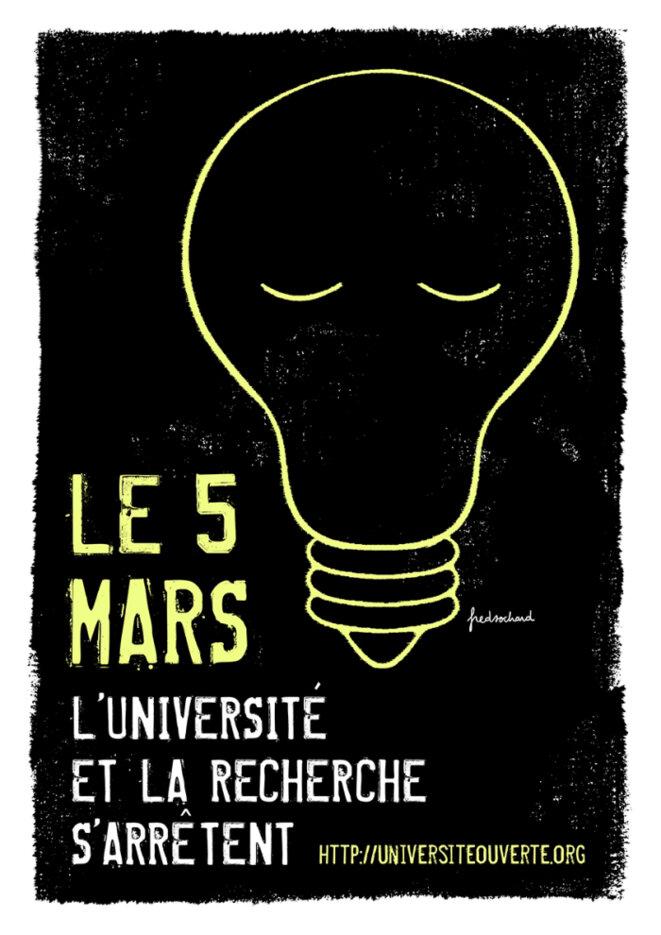 Le 5 Mars l'université et la recherche s'arrête. © Fred Sochard