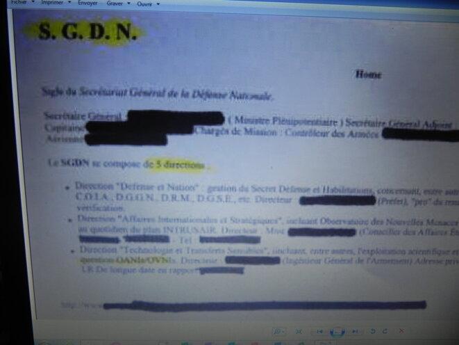 Un document exceptionnel : qui s'occupe au SGDEN des Ovnis, du moins à l'époque ou Monsieur Troadec découvre ce document.