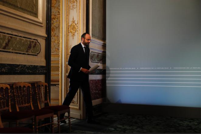 Le premier ministre Édouard Philippe à l'Élysée, le 25 mars. © Crédit Francois Mori / POOL / AFP