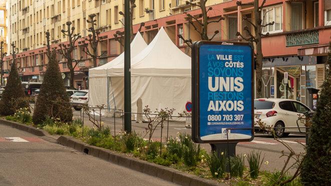 drive test Covid-19 avenue de Verdun à Aix-les-Bains (Savoie) © plbillot