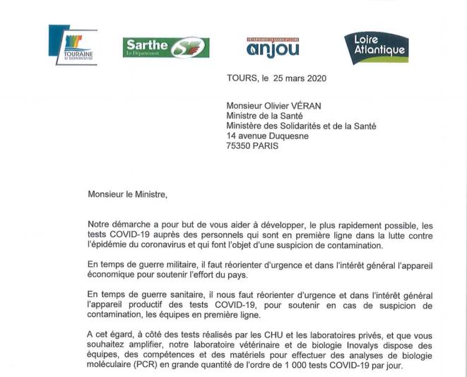 Extrait de la lettre adressée à Olivier Véran par les présidents de quatre départements. © LD