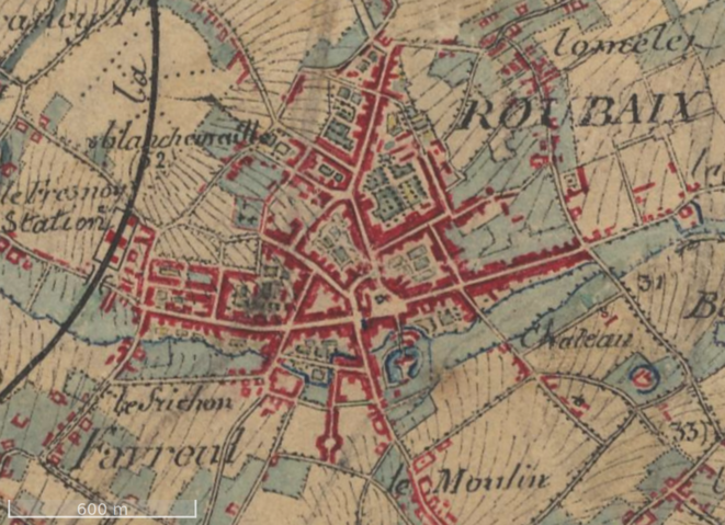 Roubaix vers 1850, carte d'état-major