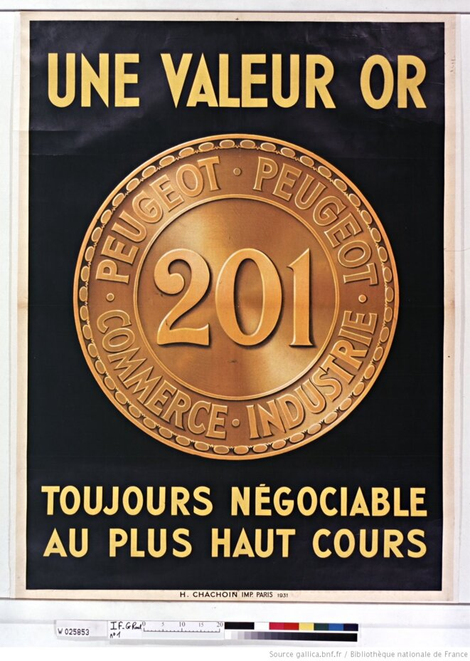 Affiche promotionnelle de Peugeot, Paris, 1931. Source: www.gallica.bnf.fr