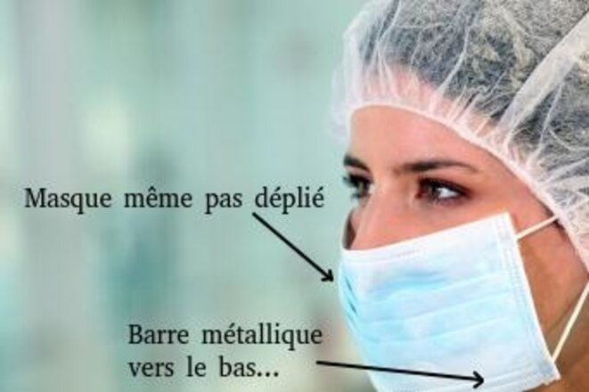 """Une photo """"exemplaire"""" d'utilisation du masque © ARS Île de France, retouches Marine VALERY"""