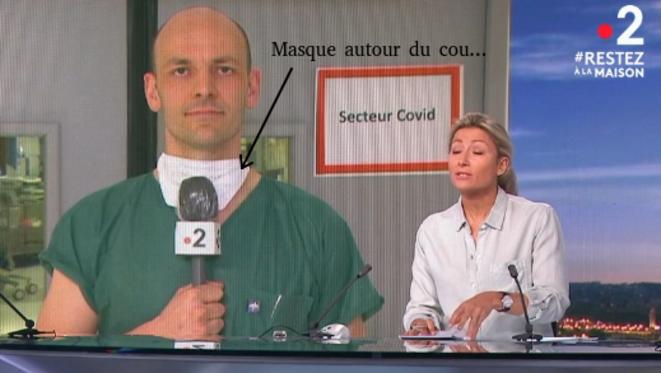 Le port du masque par les soignants au JT... © France 2, retouches Marine VALERY