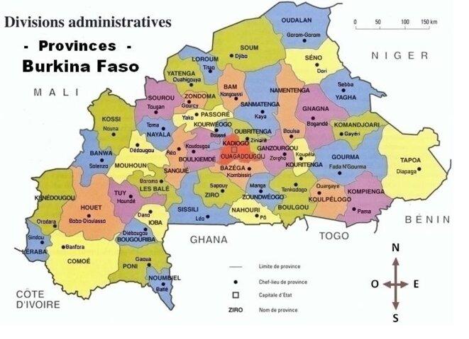 Provinces et Chefs lieux du Burkina