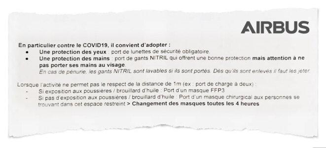 Extrait des consignes Covid-19 à l'attention des salariés des usines françaises d'Airbus. © Document Mediapart