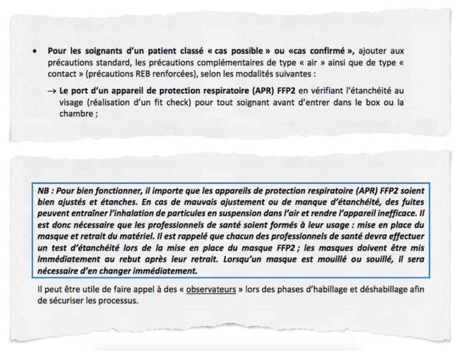 Rédigé le 20 février, le guide du ministère exige que tout soignant au contact d'un cas « possible » de Covid-19 porte un masque FFP2. © Document Mediapart