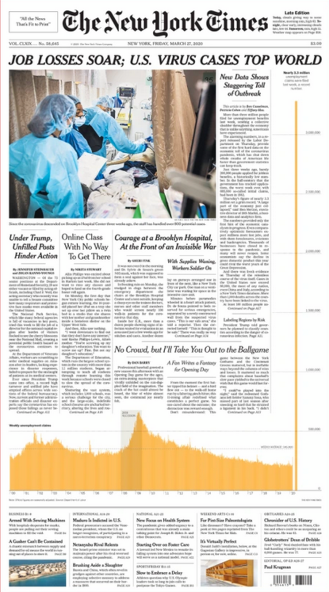 La une du New York Times, le 27 mars 2020 © The New York Times