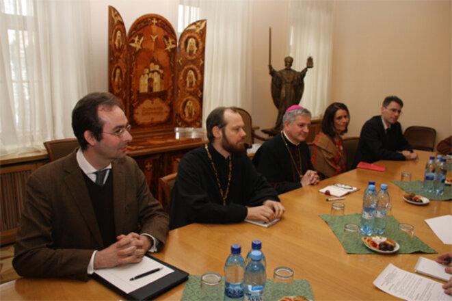 Mgr Marc Aillet reçu par Métropolite Hilarion. © blagovest-info.ru