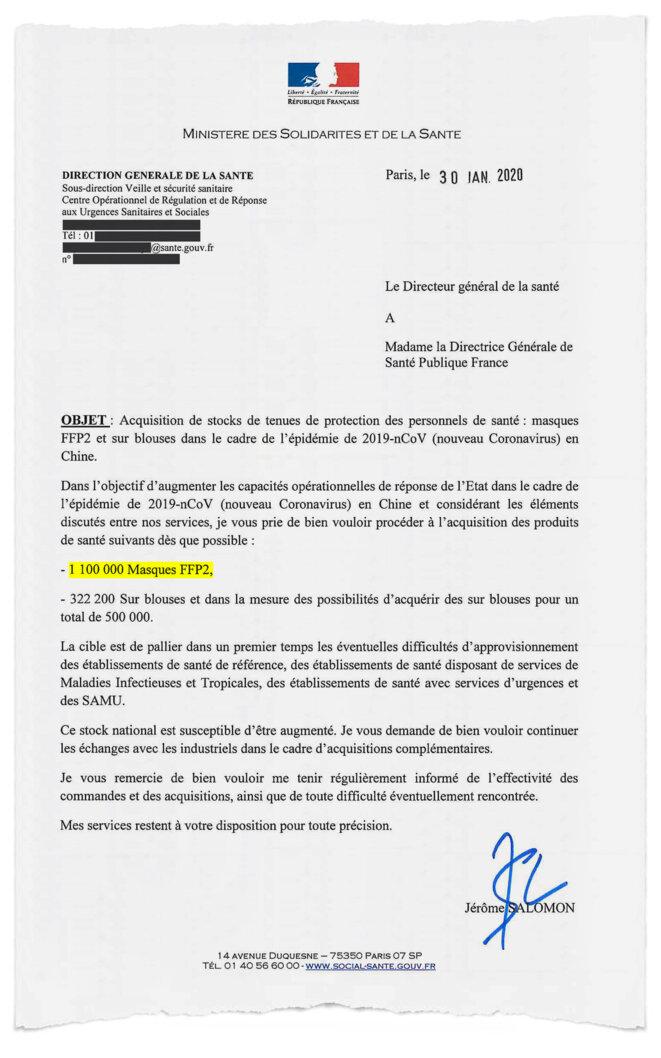 La commande d'équipement de protection ordonnée par la Direction générale de la Santé (DGS) le 30 janvier 2020. © Document Mediapart
