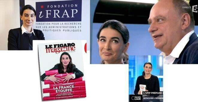 """Sur une photo, elle est aux côtés de l'autre ultralibéral, l'économiste Jean-Marc Daniel. Sur une autre, sans pudeur, elle agite ostensiblement son dernier livre pour la caméra, ce qu'aucun invité de """"C dans l'air"""" n'a jamais fait."""