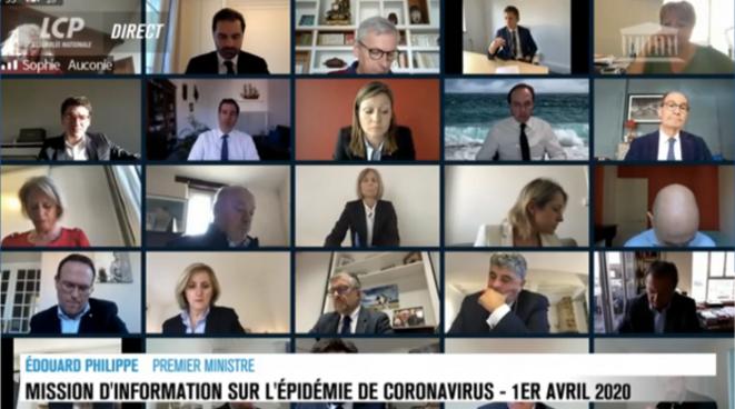 La mission d'information sur le Covid-19 en visioconférence à l'Assemblée nationale, le 1er avril 2020. © Capture d'écran