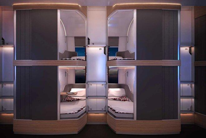 """Les futurs espaces privatifs Nightjet ÖBB inspirés des """"hotels capsules japonais"""" offriront plus d'intimité aux voyageurs. Source : ÖBB/Etude design PriestmanGoode"""