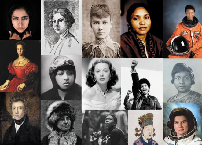 Photomontage des 15 portraits de femmes choisies par les élèves © Festival Hors limites