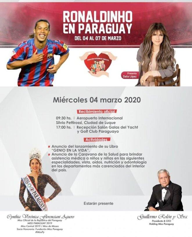 Affiche de Ronaldinho au Paraguay