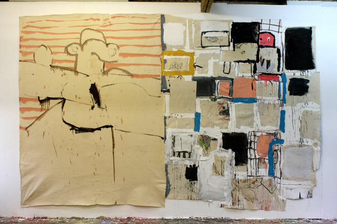 Simon English I found you (simple) 2019 Huile, acrylique, encre sur toile et polyester 250 x 370 cm © Cedric Migroyan
