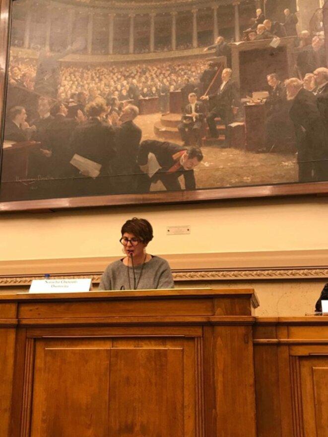 Natacha Chetcuti-Osorovitz à l'Assemblée nationale, en 2019, lors d'un colloque sur les situations carcérales en France. © Natacha Chetcuti-Osorovitz