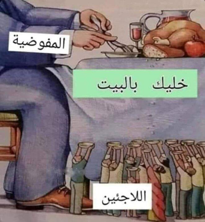 """Image partagée sur les réseaux sociaux. Homme à table : le UNHCR ; la table : """"restez chez vous"""" ; sous la table : les réfugiés."""