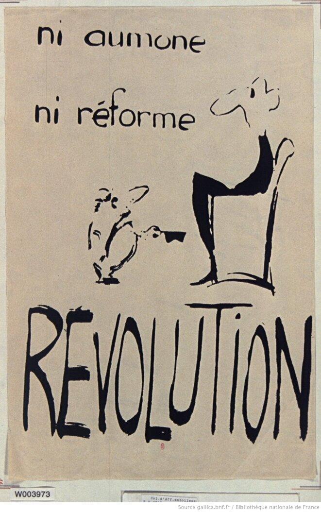 Dessin à encre, 50 x 33 cm. Maquette d'affiche, mai 1968, France, s.n. et s.l. Source: www.gallica.bnf.fr