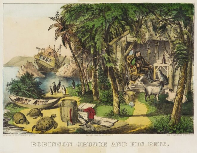 «Robinson Crusoe and his Pets», Currier & Ives, 1874.