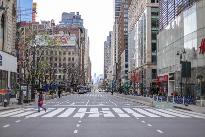 Vue du Herald Square vide à Manhattan le 7 avril 2020. © William Volcov/Brazil Photo Press via AFP