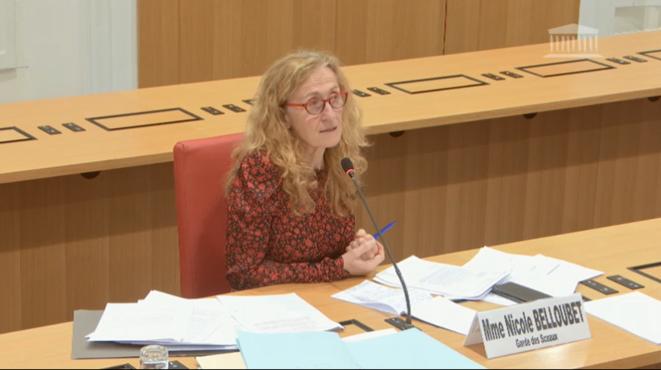 La ministre de la justice, Nicole Belloubet, lors de son audition par la mission d'information sur le Covid-19 à l'Assemblée nationale le 8 avril. © DR / Capture d'écran