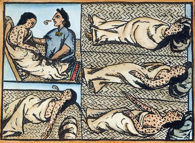 Indiens atteints de variole © Bernardino de Sahagun