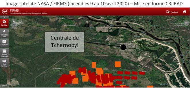 Incendies près de la centrale de Tchernobyl © NASA + CRIIRAD