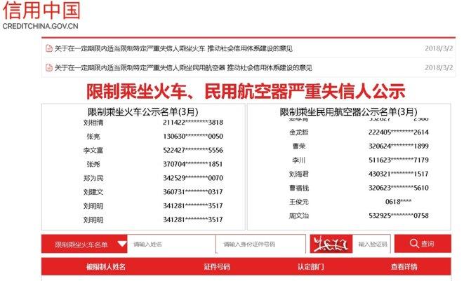 """Capture d'écran : sur un site du gouvernement chinois, liste mise à jour en temps réel des gens qui ont une interdiction de voyager en avion ou en train. Colonne de gauche : Liste des restrictions sur les voyages en train. Colonne de droite """"Liste des restrictions à l'utilisation des aéronefs civils (mars)""""."""