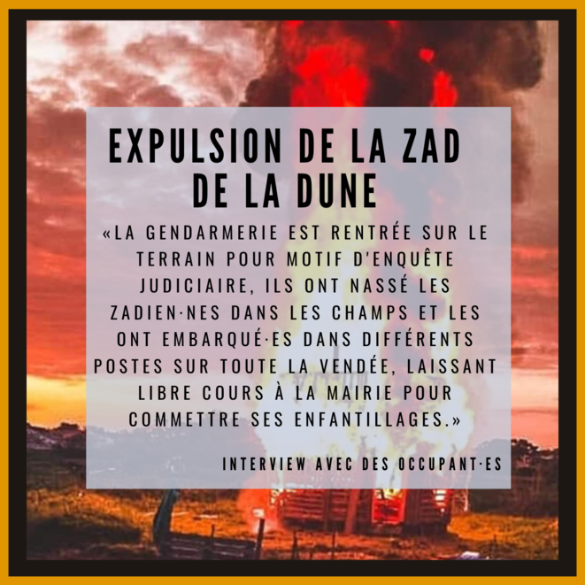 Montage zad de la dune, cabane en feu pendant l'expulsion du 8/04/2020 © (c) VinDiesel Photographie