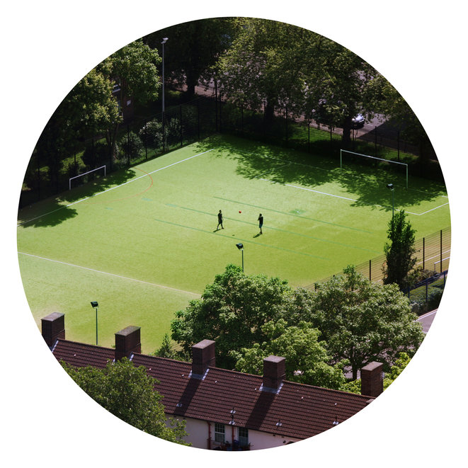 Football pitch near Tabard Gardens, London. Illustrative photo, 2019. © Guillaume Squinazi