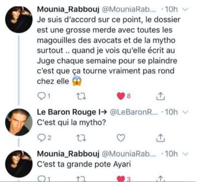 Tweet de Mounia Rabbouj au sujet de Henda Ayari et du dossier (2018)