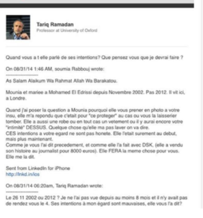 Capture d'écran de Soumia Rabbouj envoyé à Tariq Ramadan au sujet de Mounia Rabbouj