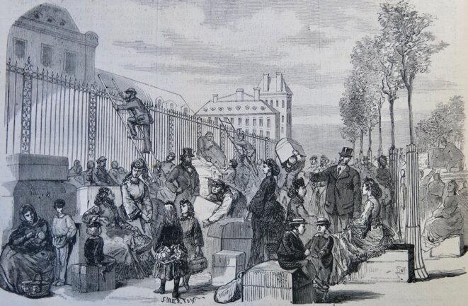 """""""L'affluence des voyageurs à la gare du chemin de fer d'Orléans"""" © L'Illustration, 17 septembre 1870"""