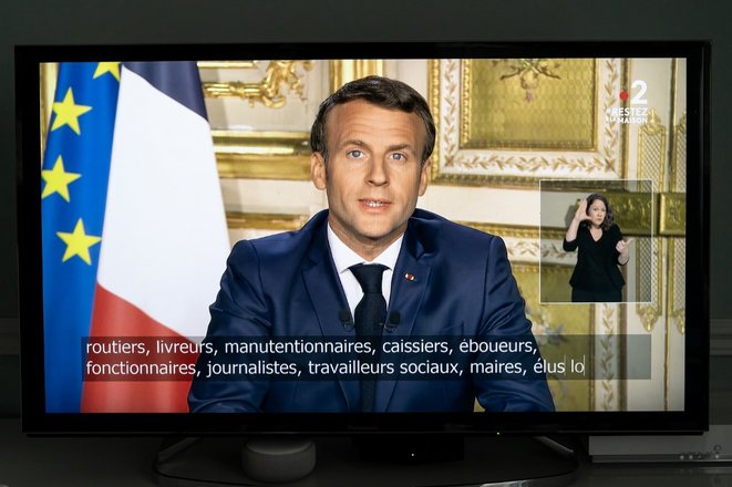 Emmanuel Macron lors de son intervention lundi 13 avril 2020 © AFP.