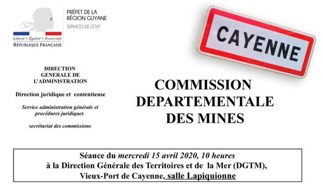 Convocation Commission des Mines en Guyane Française durant le confinement