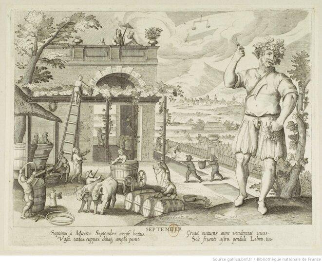 Les travaux des vignerons au mois de septembre, estampe de Jacques Callot, 1607-1609. Source: gallica.bnf.fr