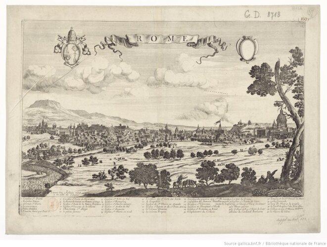 Vue panoramique de Rome au XVIIe siècle, anonyme, éditée chez Jollain, rue Saint-Jacques. 48 x 55 cm. Source: gallica.bnf.fr