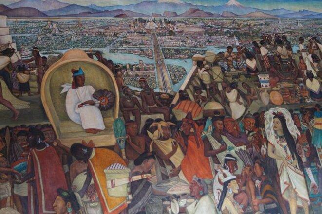peinture murale de Rivera: le marché de Tlatelolco palacio nacional Mexico © licence creative commons CC BY  Boris Carrier
