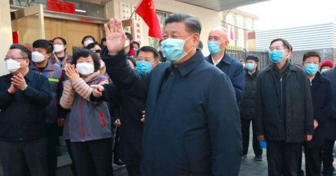 Xi Jinping en visite à Wuhan le 10 mars 2020. © EyePress News /EyePress via AFP