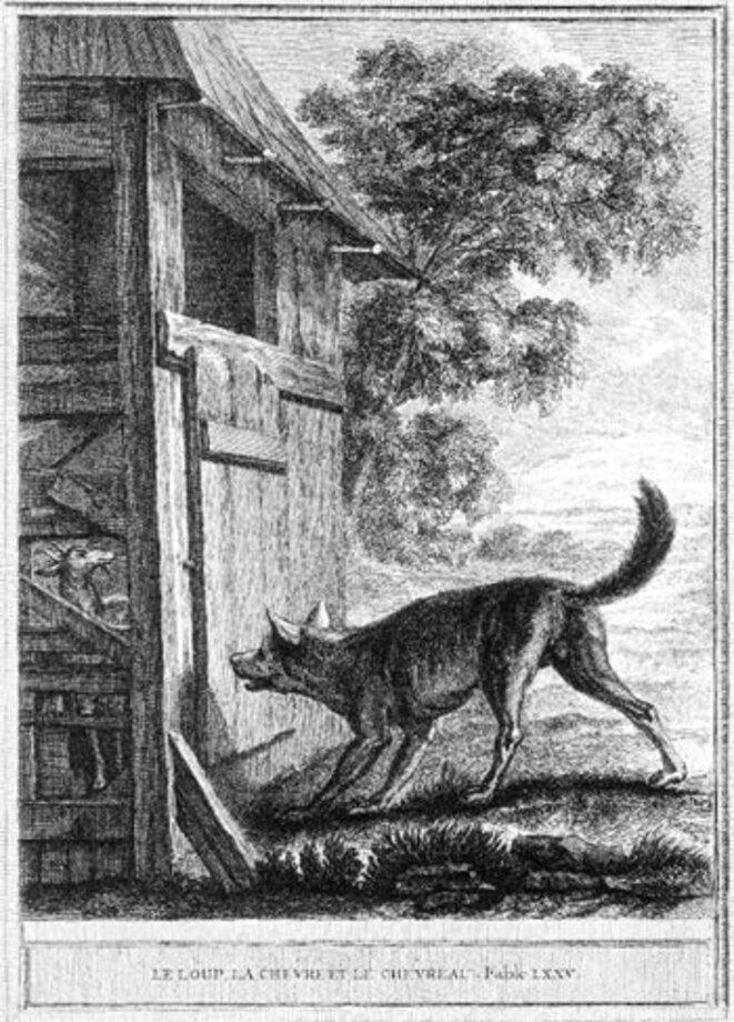 Illustrations des Fables de La Fontaine par Oudry - Le Loup, la Chèvre et le Chevreau