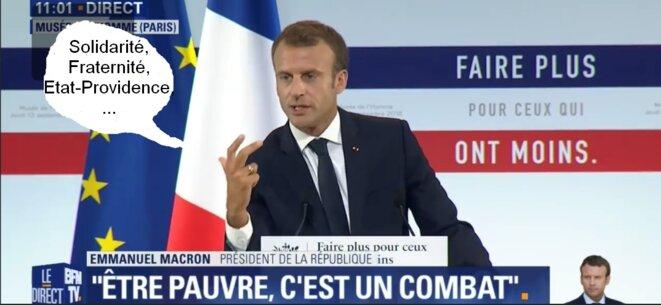 Le Président de la République, au Musée de l'Homme à Paris le 13 septembre 2018, présentant le Plan Pauvreté, et ses propos d'aujourd'hui en bulle [Capture d'écran BFM TV et montage YF]