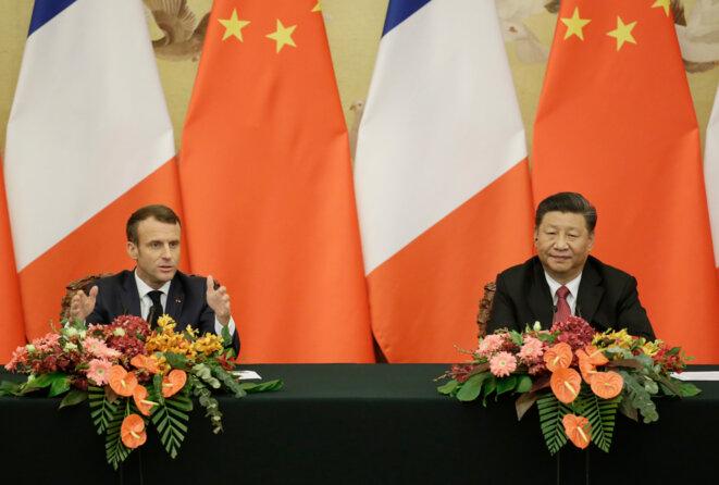 Emmanuel Macron et Xi Jinping, en novembre 2019. © AFP