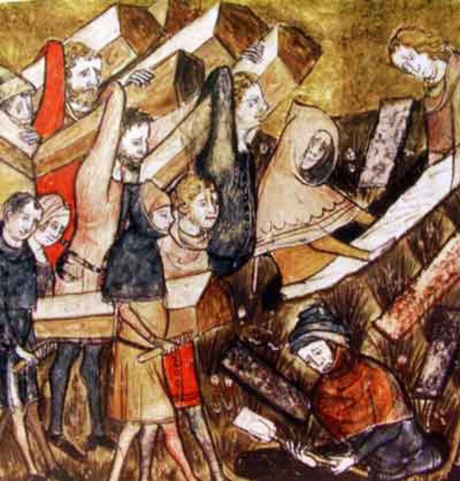 """Enterrement de victimes de la peste à Tournai. Détail d'une miniature des """"Chroniques et annales de Gilles le Muisit"""", Bibliothèque royale de Belgique, MS 13076-77, f. 24v."""