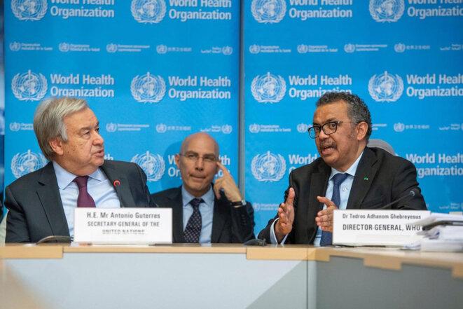 Antonio Guterres, secrétaire général de l'ONU, et Tedros Adhanom Ghebreyesus, directeur général de l'OMS. © photo ONU