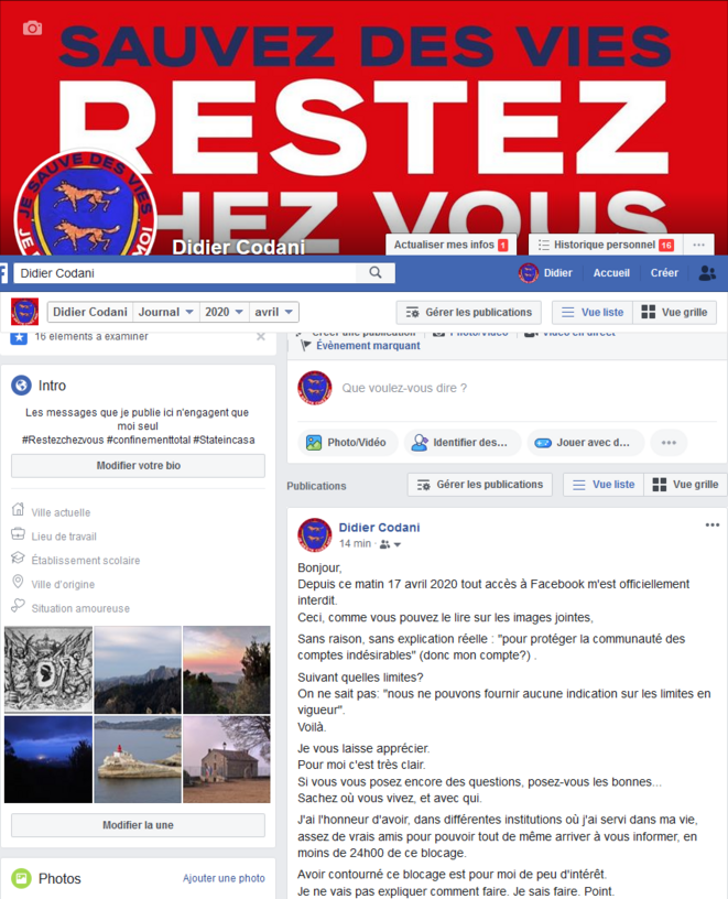 Page Facebook Didier CODANI le 17 avril 2020 © Didier CODANI