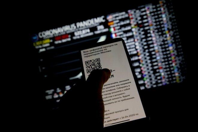 Les Moscovites doivent obtenir un code QR pour sortir de chez eux. © Sefa Karacan/Anadolu Agency