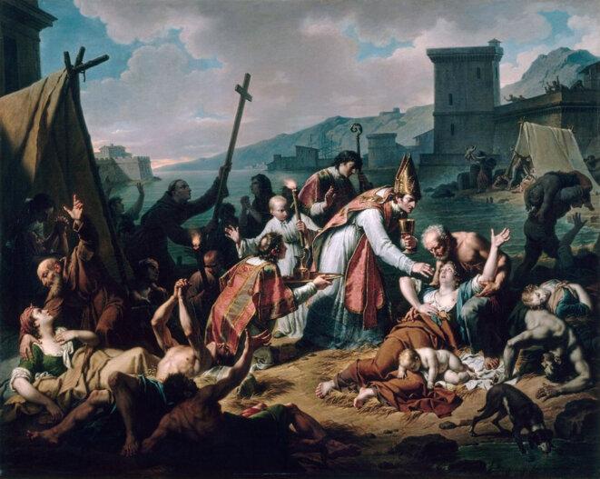 Dévouement de Monseigneur Belsunce, évêque de Marseille, durant la peste qui désola cette ville en 1720 © Nicolas André Monciau